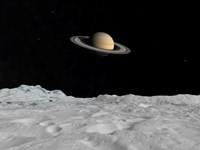 Artist's concept of Saturn as seen from the Surface of its Moon Lapetus Fine-Art Print