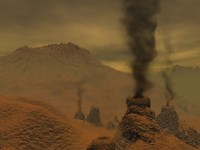 Artist's concept of Volcanic Activity on the Surface of Venus Fine-Art Print