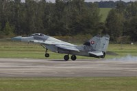 A Slovak Air Force MiG-29AS Fulcrum Landing on the Runway Fine-Art Print
