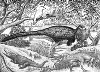 Black ink Drawing of Extinct Animals From the Hell Creek Formation Fine-Art Print