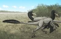 Two Dromaeosaurus Dinosaurs Sunbathing in the Cretaceous Period Fine-Art Print