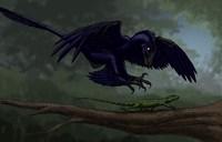Microraptor Hunting a Small Lizard on a Tree Branch Fine-Art Print