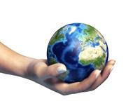 Human Hand Holding Planet Earth Fine-Art Print