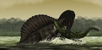 A Spinosaurus Catches a Young Stomatosuchus Fine-Art Print