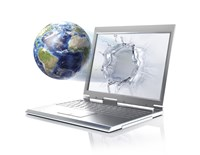 Planet Earth Globe Coming Out From a Laptop Computer Fine-Art Print