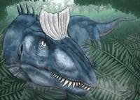 A Cryolophosaurus Walking through a Jurassic Forest Fine-Art Print