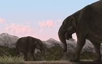 Two Deinotherium, an Extinct Animal of the Miocene Epoch Fine-Art Print