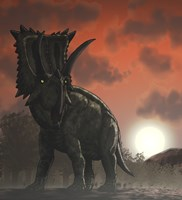 Coahuilaceratops Walking through a Cretaceous Sunset Fine-Art Print
