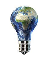 Light Bulb with Planet Earth inside Glass, Africa and Europe view Fine-Art Print