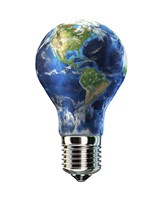 Light bulb with planet Earth inside glass, Americas view Fine-Art Print