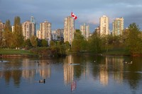 Apartments reflected in Vanier Park Pond, Vancouver, British Columbia, Canada Fine-Art Print