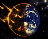 A Swarm of Deadly Meteorites Impact Earth on Armageddon Day Fine-Art Print