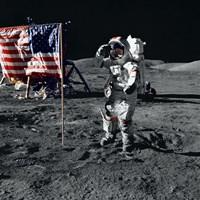 Apollo 17 Astronaut Salutes the United States Flag on the Lunar Surface Fine-Art Print