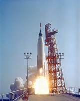 Mercury-Atlas 9 lifts off from its Launch Pad at Cape Canaveral, Florida Fine-Art Print