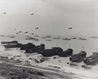 Barrage balloons and shipping at Omaha Beach during the Allied amphibious assault Fine-Art Print