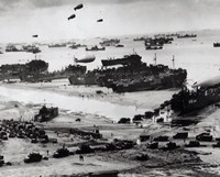Fleets of US transport and landing craft disgorge reinforcements and supplies for the US troops Fine-Art Print