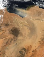 Satellite View of a Dust Storm over Libya Fine-Art Print