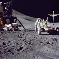 Apollo 15 Astronaut Loads the Lunar Rover with Tools and Equipment Fine-Art Print