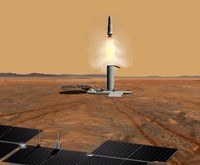 Concept of an Ascent vehicle Leaving Mars Fine-Art Print