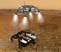 Artist's Concept of an Ascent Vehicle Leaving Mars Fine-Art Print