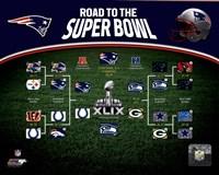New England Patriots Road the Super Bowl Super Bowl XLIX Champions Bracket Fine-Art Print