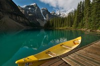 Canoe along Moraine Lake, Banff National Park, Banff Fine-Art Print