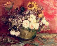 Sunflowers, Roses and other Flowers in a Bowl, 1886 Fine-Art Print