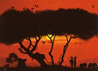 Evening Mood with Two Warriors Fine-Art Print