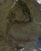 Satellite view of the Carpathian Mountains in Romania Fine-Art Print