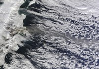 Satellite view of an Ash Plume Rising from Russia's Shiveluch volcano Fine-Art Print