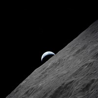The crescent Earth Rises above the Lunar Horizon Fine-Art Print