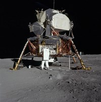 An Apollo 11 aAtronaut in Front of the Lunar Module Fine-Art Print