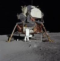 An Apollo 11 aAtronaut in Front of the Lunar Module Fine-Art Print