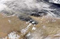 Dust Blows Off the Coast of Libya Heading Over the Mediterranean Sea Fine-Art Print