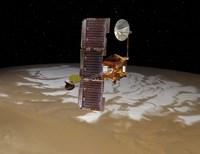 Mars Odyssey Spacecraft Passes Above Mars' South Pole Fine-Art Print