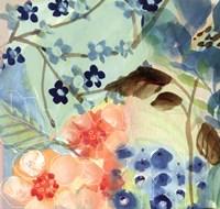 Blue Peach Floral II Fine-Art Print