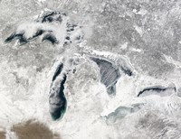Satellite view of the Great Lakes Fine-Art Print