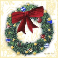 Pine Wreath With Red Ribbon Fine-Art Print