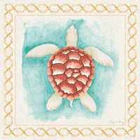 Coastal Mist Sea Turtle Border Turquoise Fine-Art Print