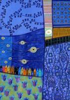 Blue Patchwork Town Fine-Art Print