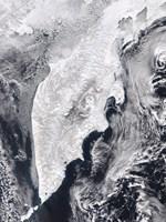 Satellite view of Kamchatka Peninsula, Eastern Russia Fine-Art Print