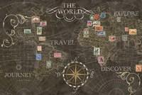 Old World Journey Stamps Black Fine-Art Print