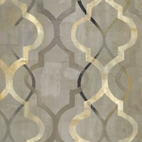 Abstract Waves Black/Gold Tiles III Fine-Art Print