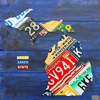 Michigan Blue License Plate Map Fine-Art Print