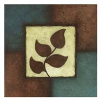 Blue Brown Green Leaves Mate Fine-Art Print