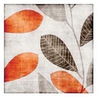 Gray Orange Leaves 1 Fine-Art Print