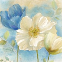 Watercolor Poppies II (Blue/White) Fine-Art Print