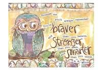 Pastel Owl Family 1 Braver Stronger Smarter Fine-Art Print