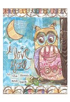 Pastel Owl Family 2 To the Moon and Back Fine-Art Print