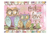 Pastel Owl Family 5 Owl Always Love You Fine-Art Print